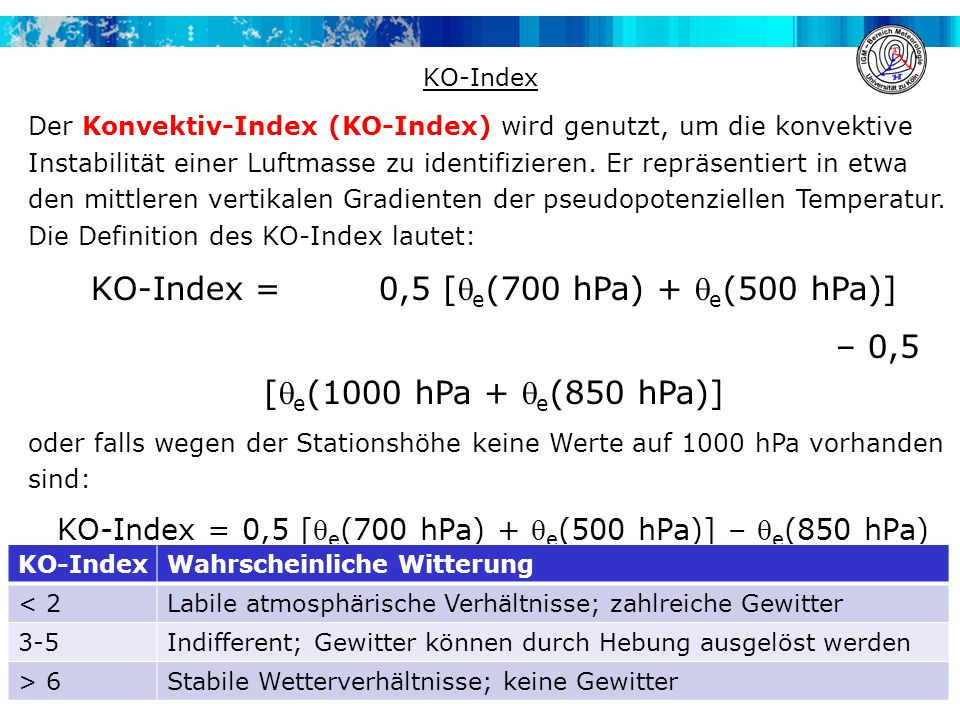 KO-Index = 0,5 [qe(700 hPa) + qe(500 hPa)]